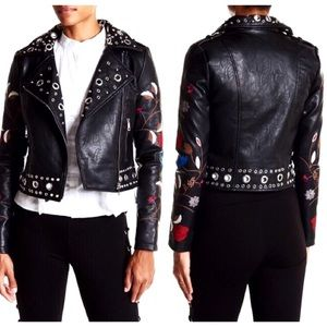 NWT Circle Rivet Embroidered Moto Leather Jacket